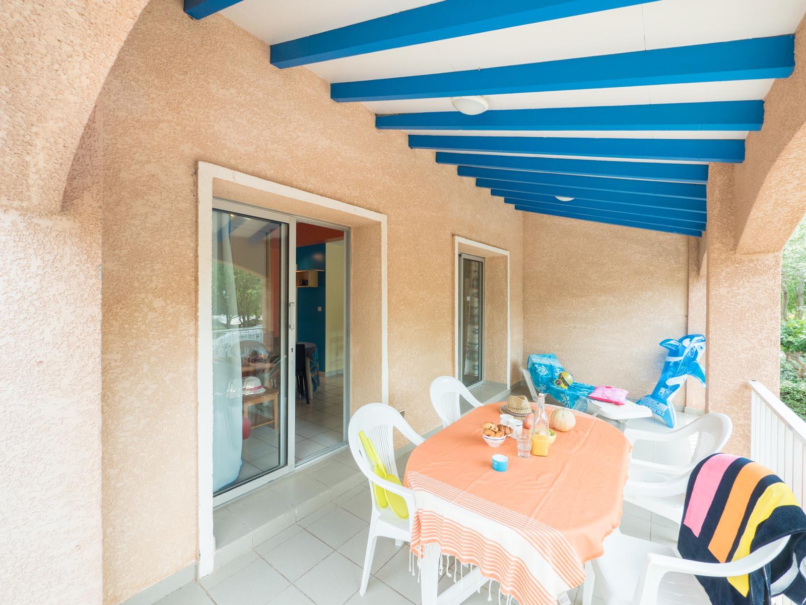 Terrasse couverte appartement de vacances plage