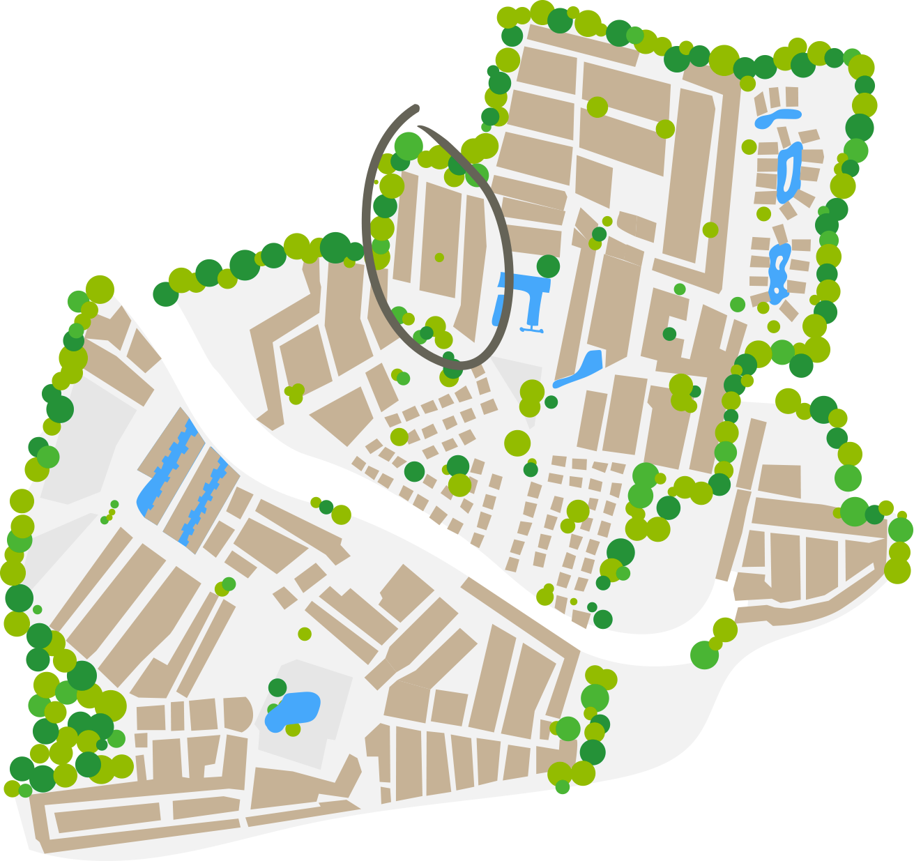 plano del barrio afrcia camping farret a vias